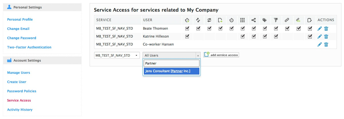 searching partner in service access