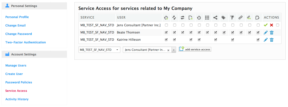 added service access for a partner