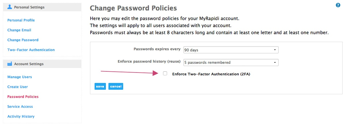 enforce two-factor authentication