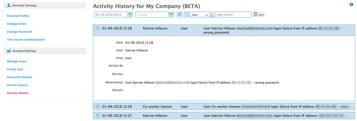 activity history on login failure on user