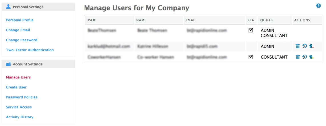 manage user for my company