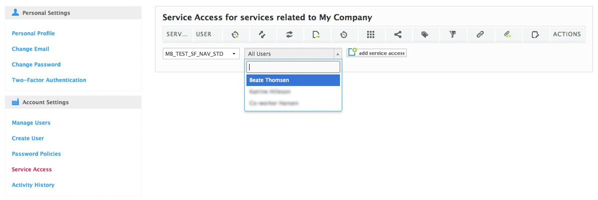 add yourself to the service access list