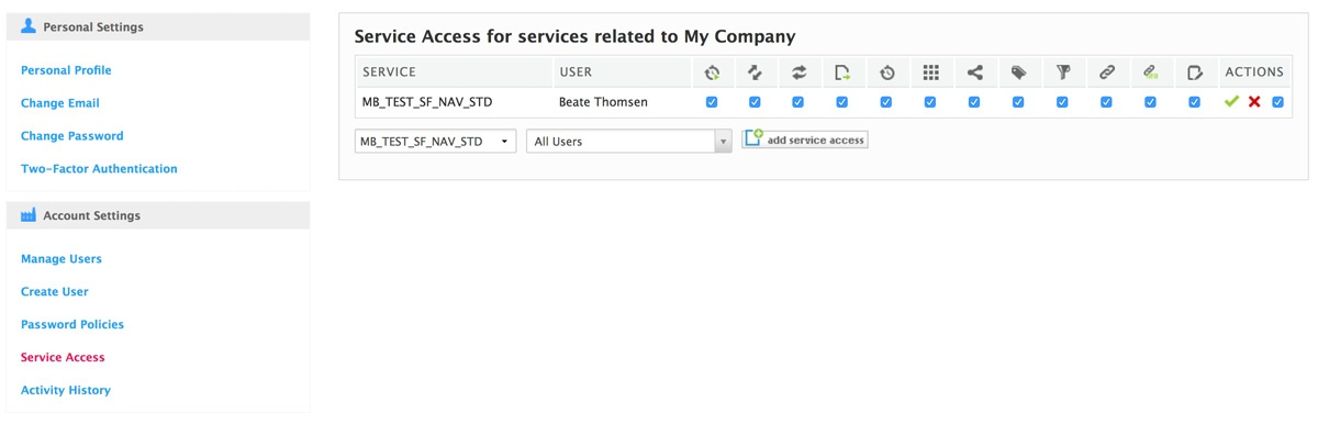 service access for admin added