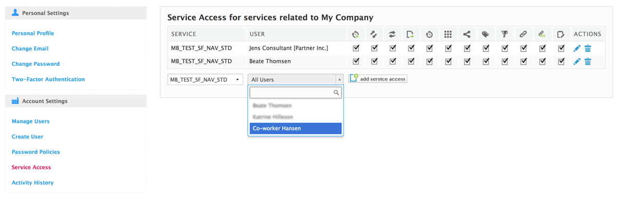 add service access for a co-worker