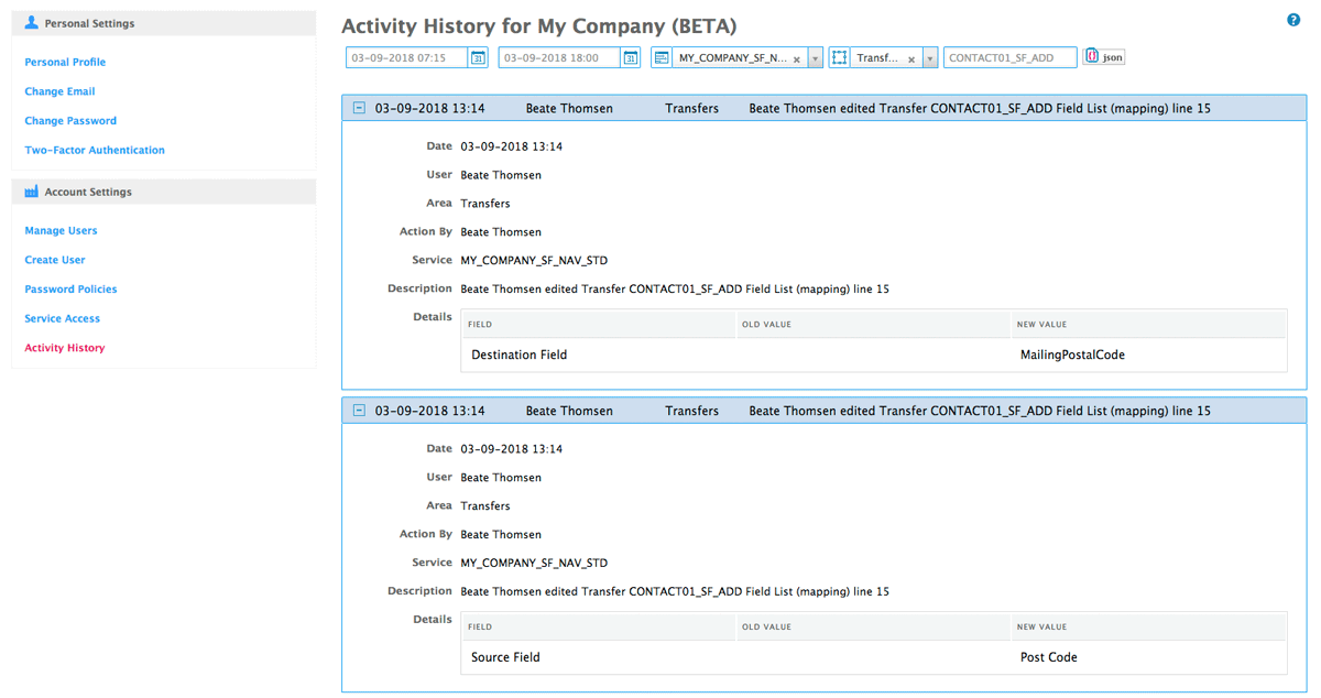 details of transfer on activity history
