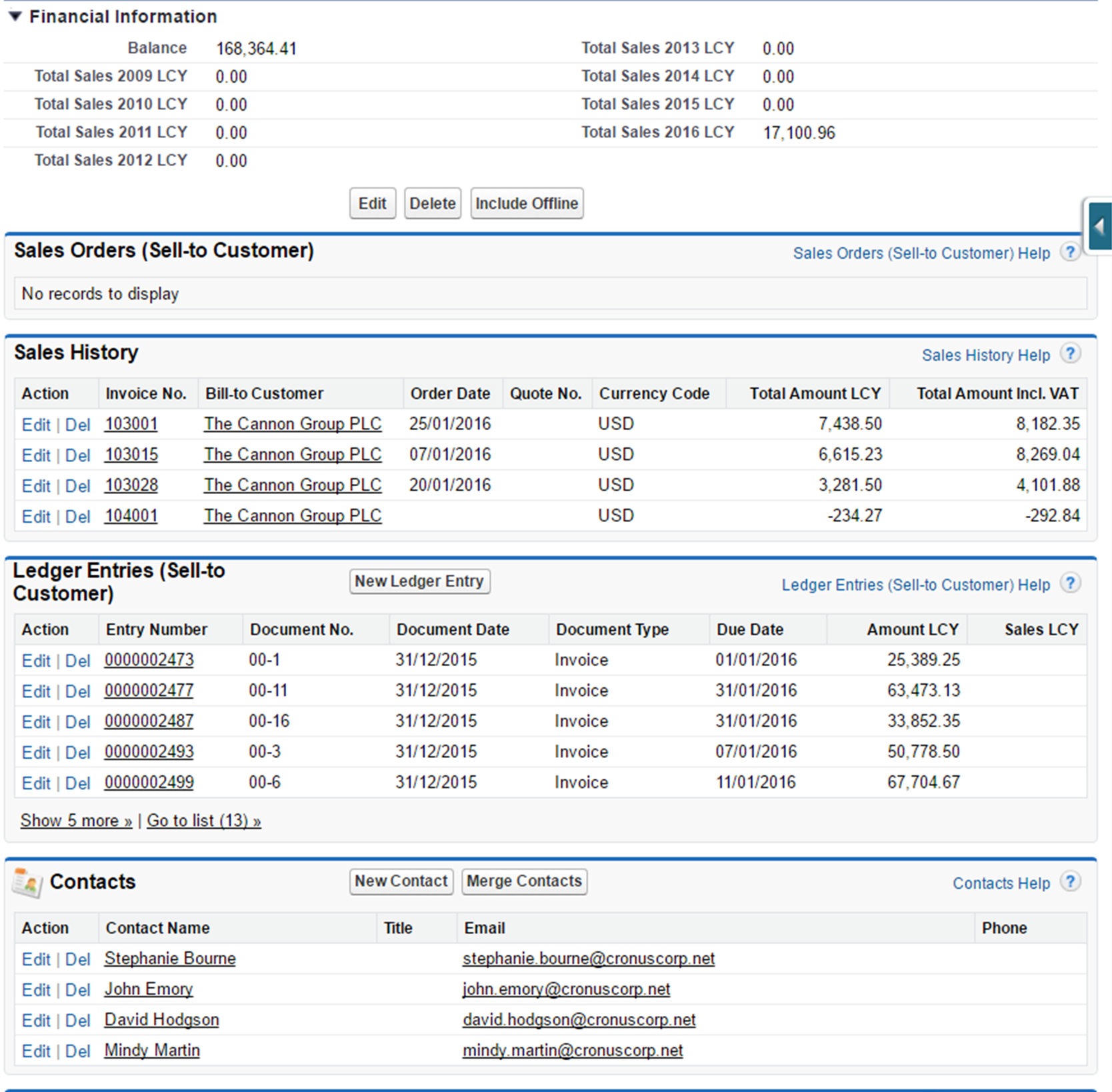 Sales History App Extension for Salesforce displays ERP data